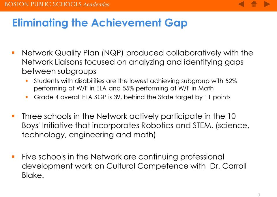 SGP is 39, behind the State target by 11 points Three schools in the Network actively participate in the 10 Boys' Initiative that incorporates Robotics and STEM.