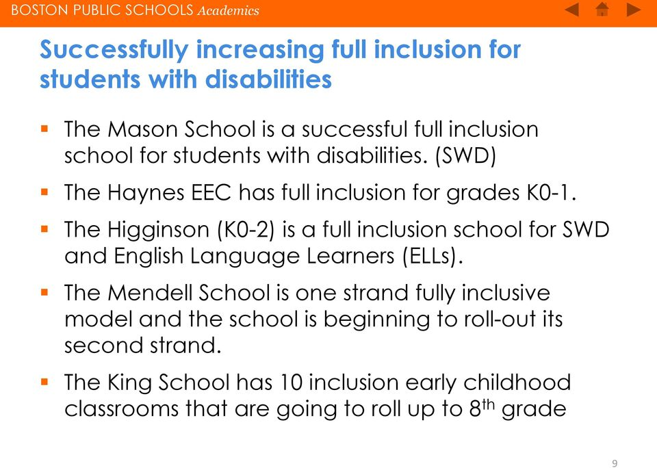 The Higginson (K0-2) is a full inclusion school for SWD and English Language Learners (ELLs).