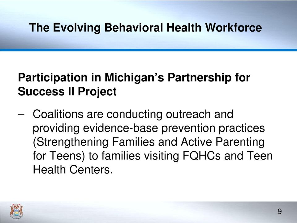 prevention practices (Strengthening Families and Active