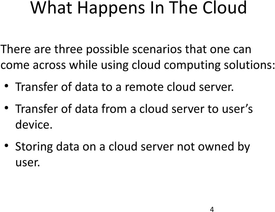 of data to a remote cloud server.