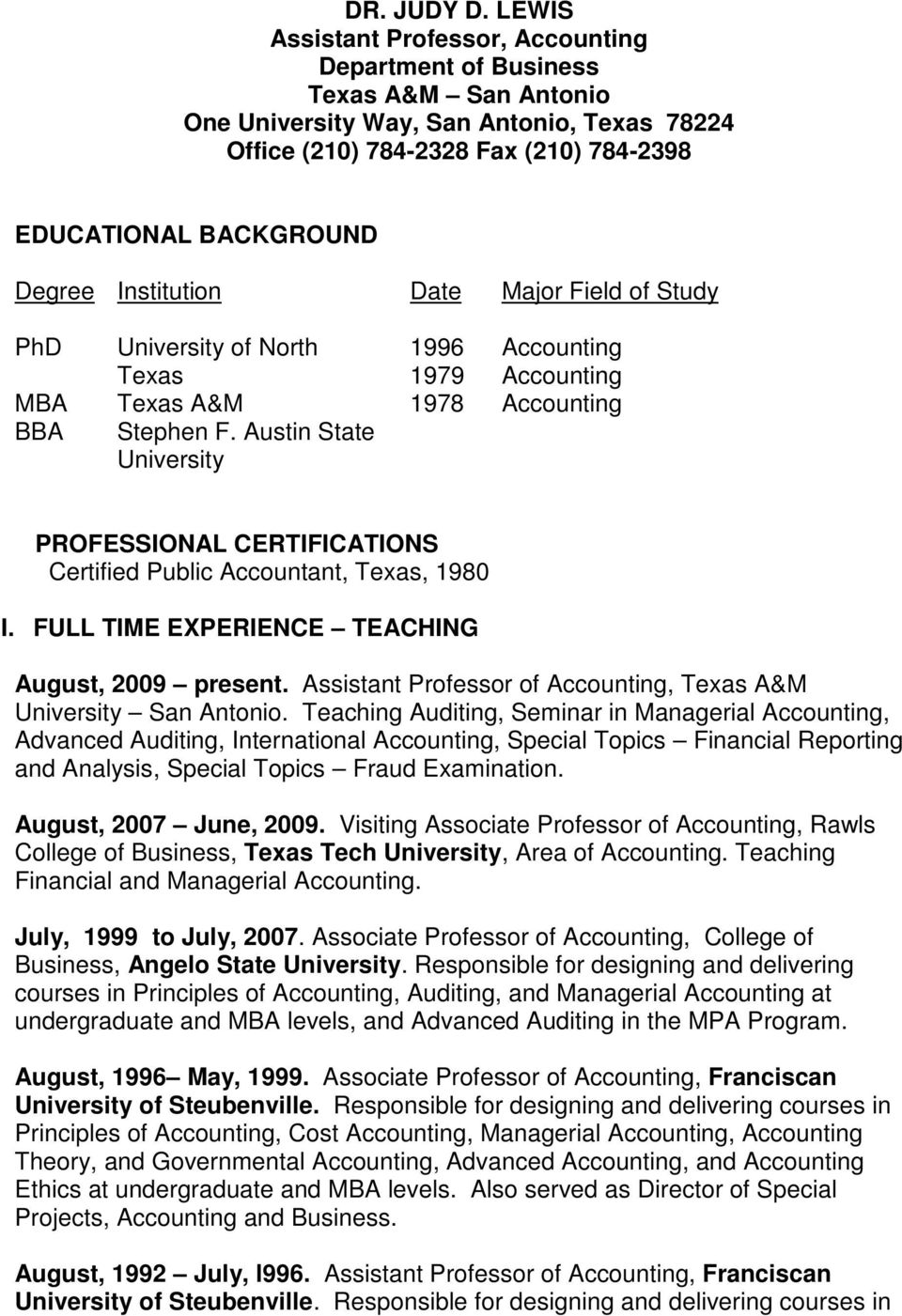 Institution Date Major Field of Study PhD MBA BBA University of North Texas Texas A&M Stephen F.