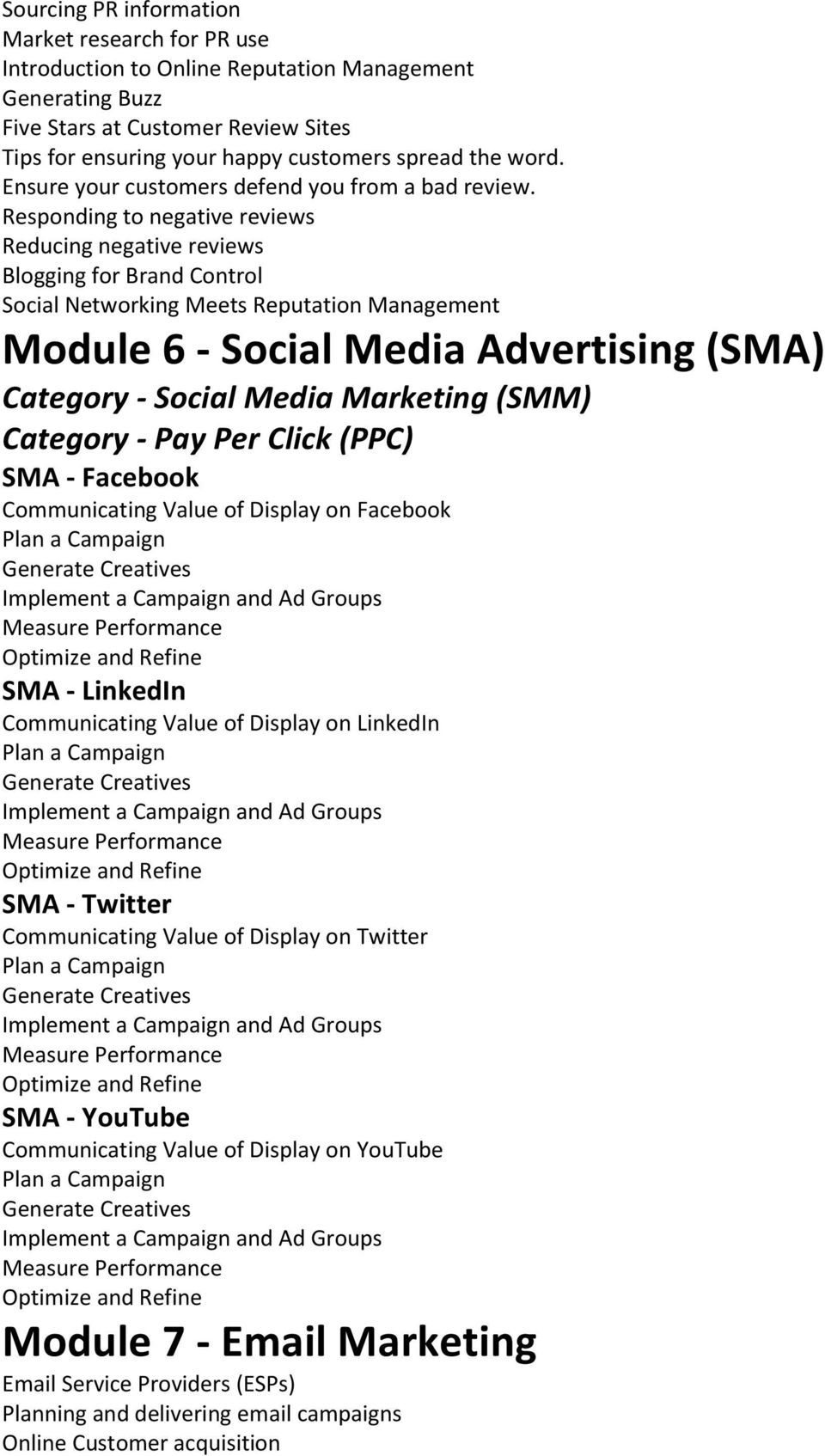 Responding to negative reviews Reducing negative reviews Blogging for Brand Control Social Networking Meets Reputation Management Module 6 - Social Media Advertising (SMA) Category - Social Media