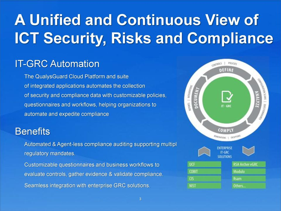 organizations to automate and expedite compliance Benefits Automated & Agent-less compliance auditing supporting multiple regulatory mandates.