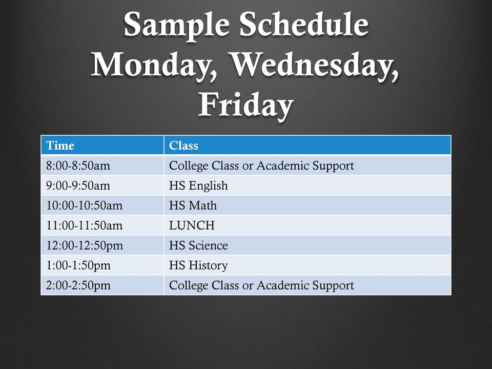 1:00-1:50pm 2:00-2:50pm Class College Class or Academic Support