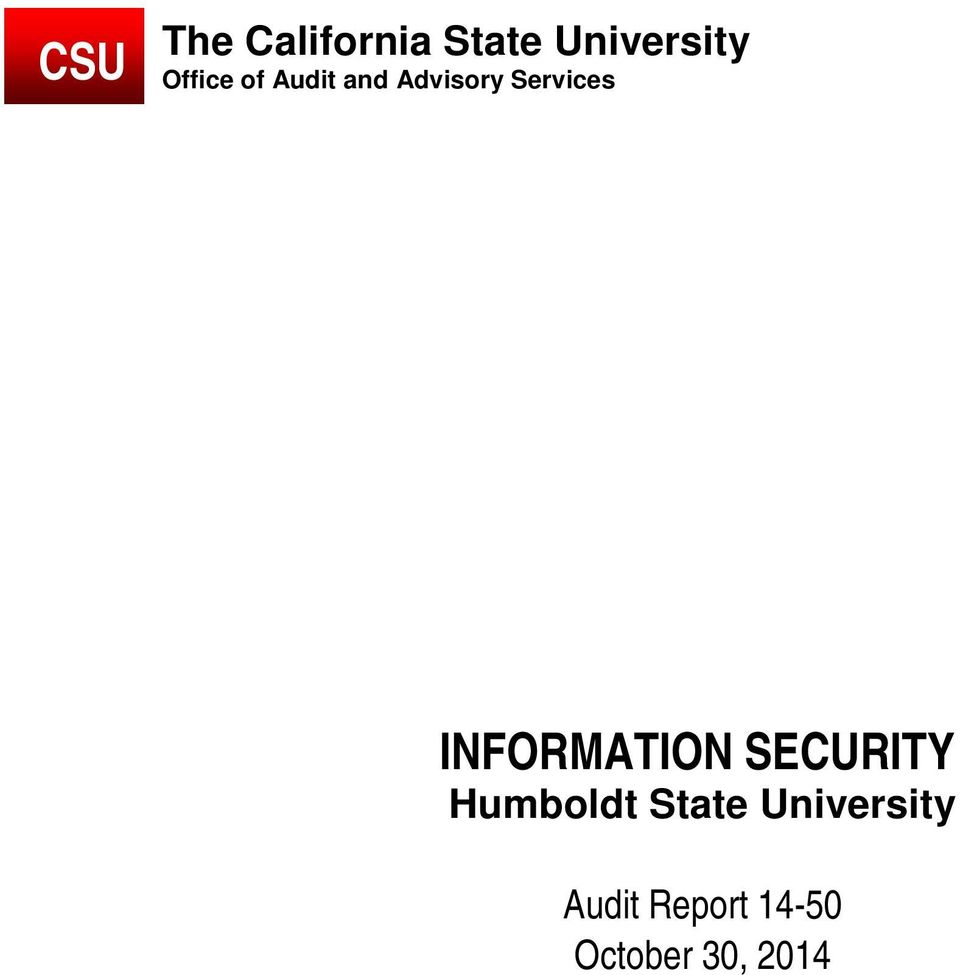 INFORMATION SECURITY Humboldt State