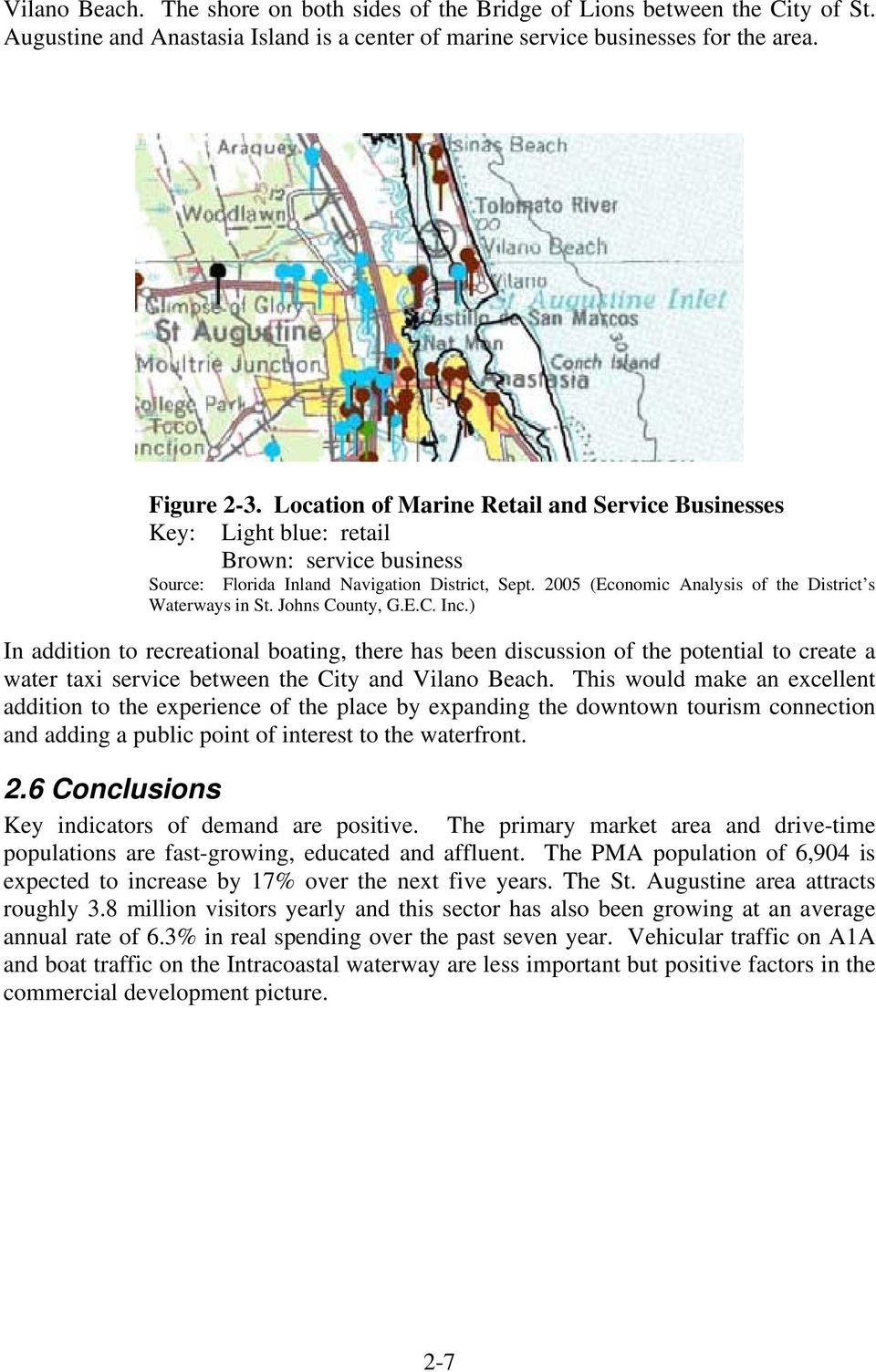 2005 (Economic Analysis of the District s Waterways in St. Johns County, G.E.C. Inc.