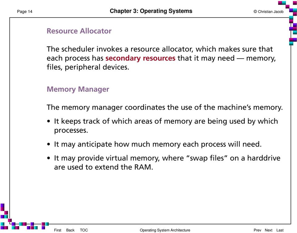 Memory Manager The memory manager coordinates the use of the machine s memory.