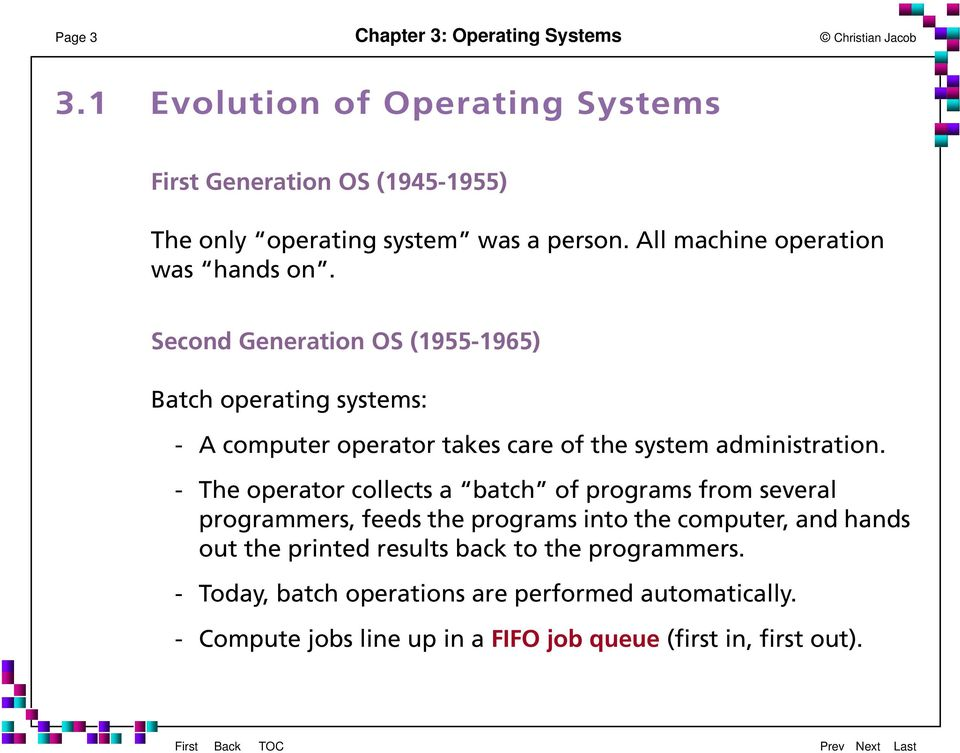 - The operator collects a batch of programs from several programmers, feeds the programs into the computer, and hands out the printed results back to the