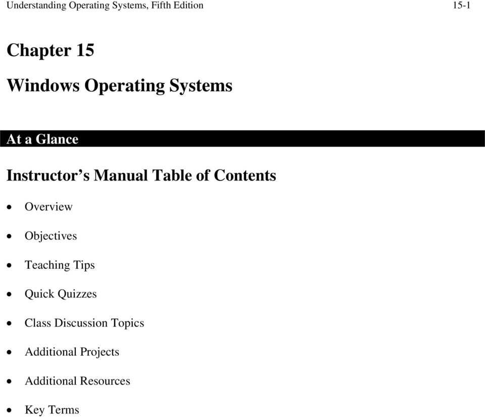 Table of Contents Overview Objectives s Quick Quizzes Class