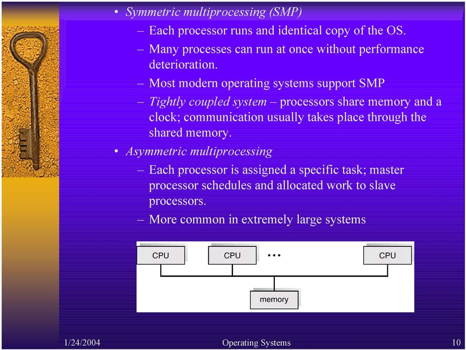 Most modern operating systems support SMP Tightly coupled system processors share memory and a clock; communication usually takes