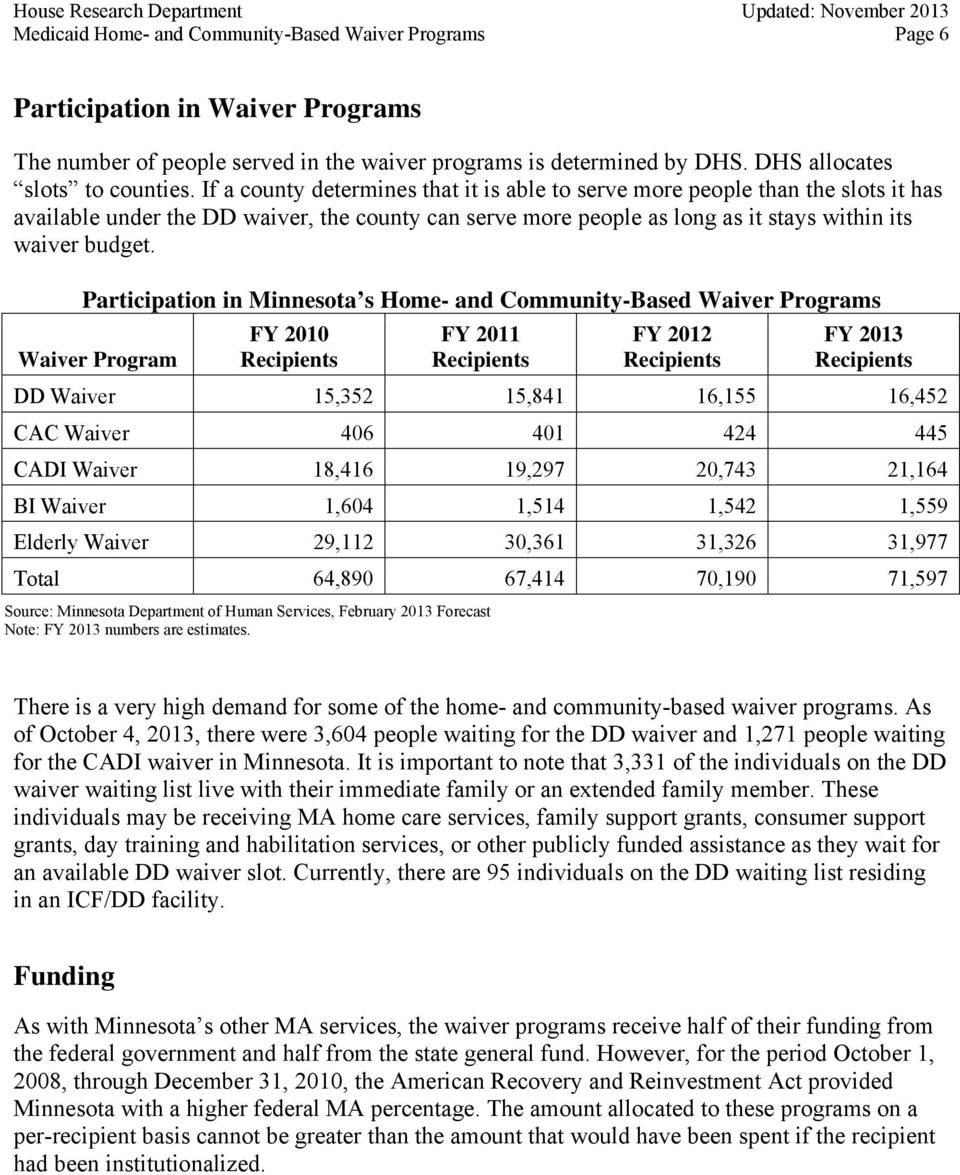 Participation in Minnesota s Home- and Community-Based Waiver Programs Waiver Program FY 2010 Recipients FY 2011 Recipients FY 2012 Recipients FY 2013 Recipients DD Waiver 15,352 15,841 16,155 16,452