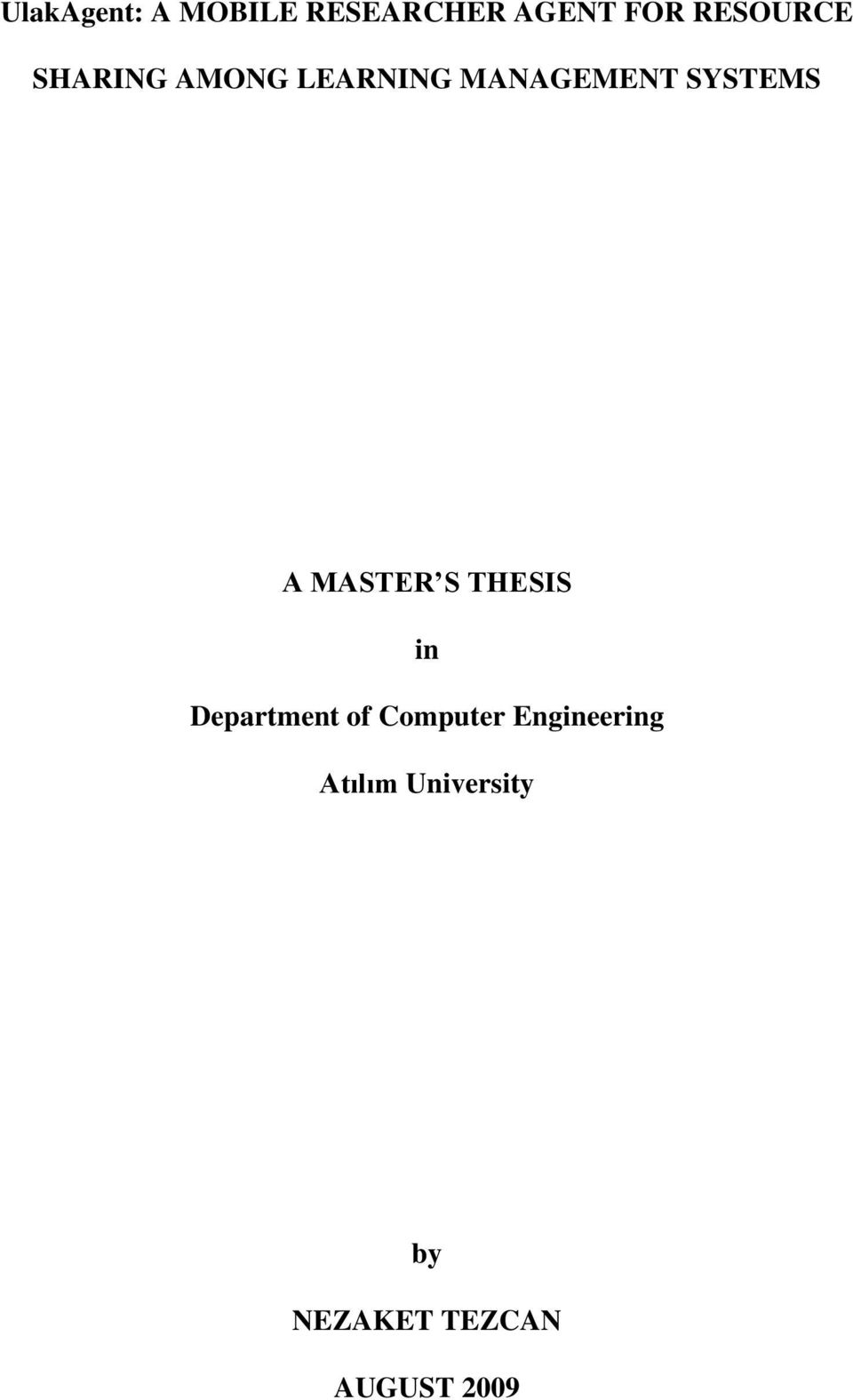 SYSTEMS A MASTER S THESIS in Department of
