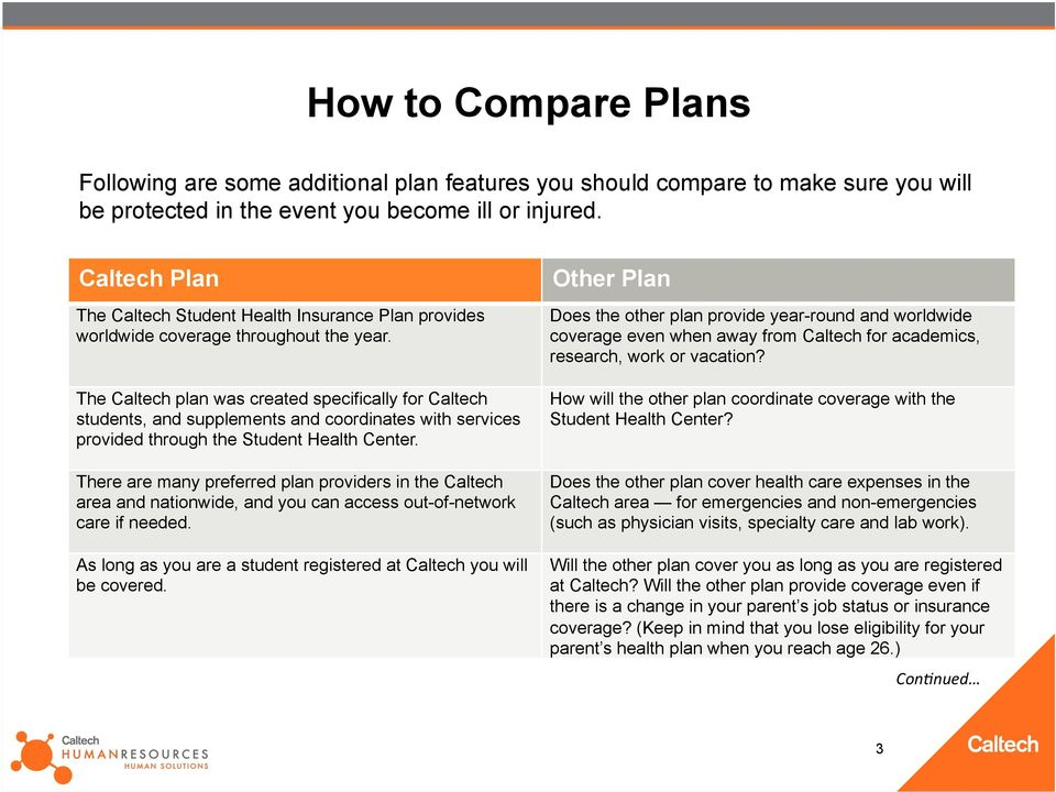 The Caltech plan was created specifically for Caltech students, and supplements and coordinates with services provided through the Student Health Center.