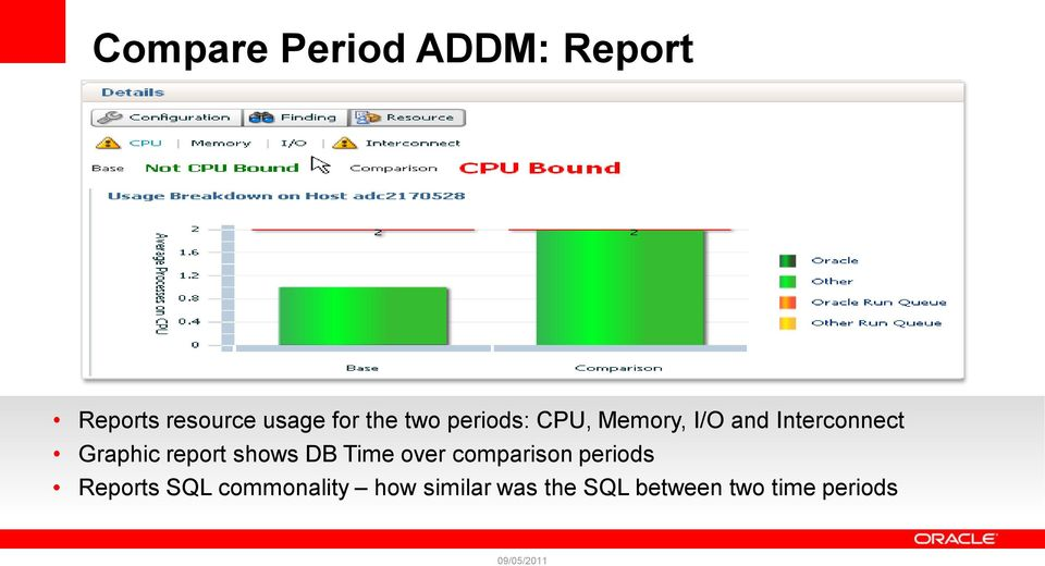 report shows DB Time over comparison periods Reports SQL