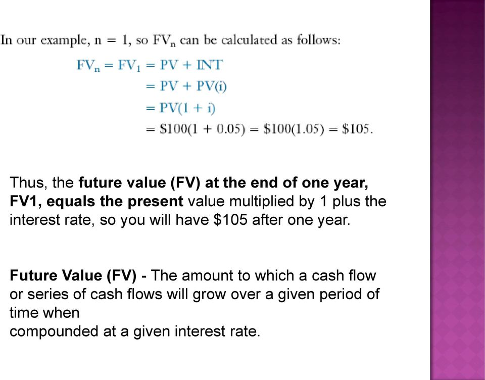 year. Future Value (FV) - The amount to which a cash flow or series of cash