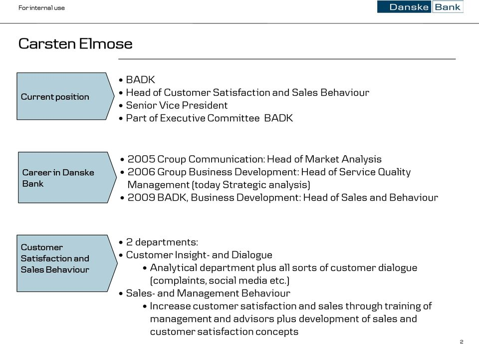 and Behaviour Customer Satisfaction and Sales Behaviour 2 departments: Customer Insight- and Dialogue Analytical department plus all sorts of customer dialogue (complaints, social