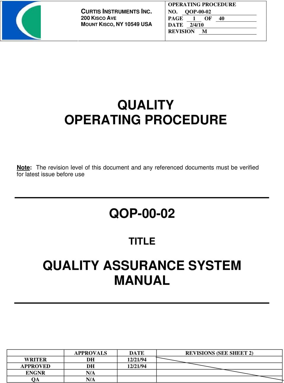 QOP-00-02 TITLE QUALITY ASSURANCE SYSTEM MANUAL APPROVALS DATE