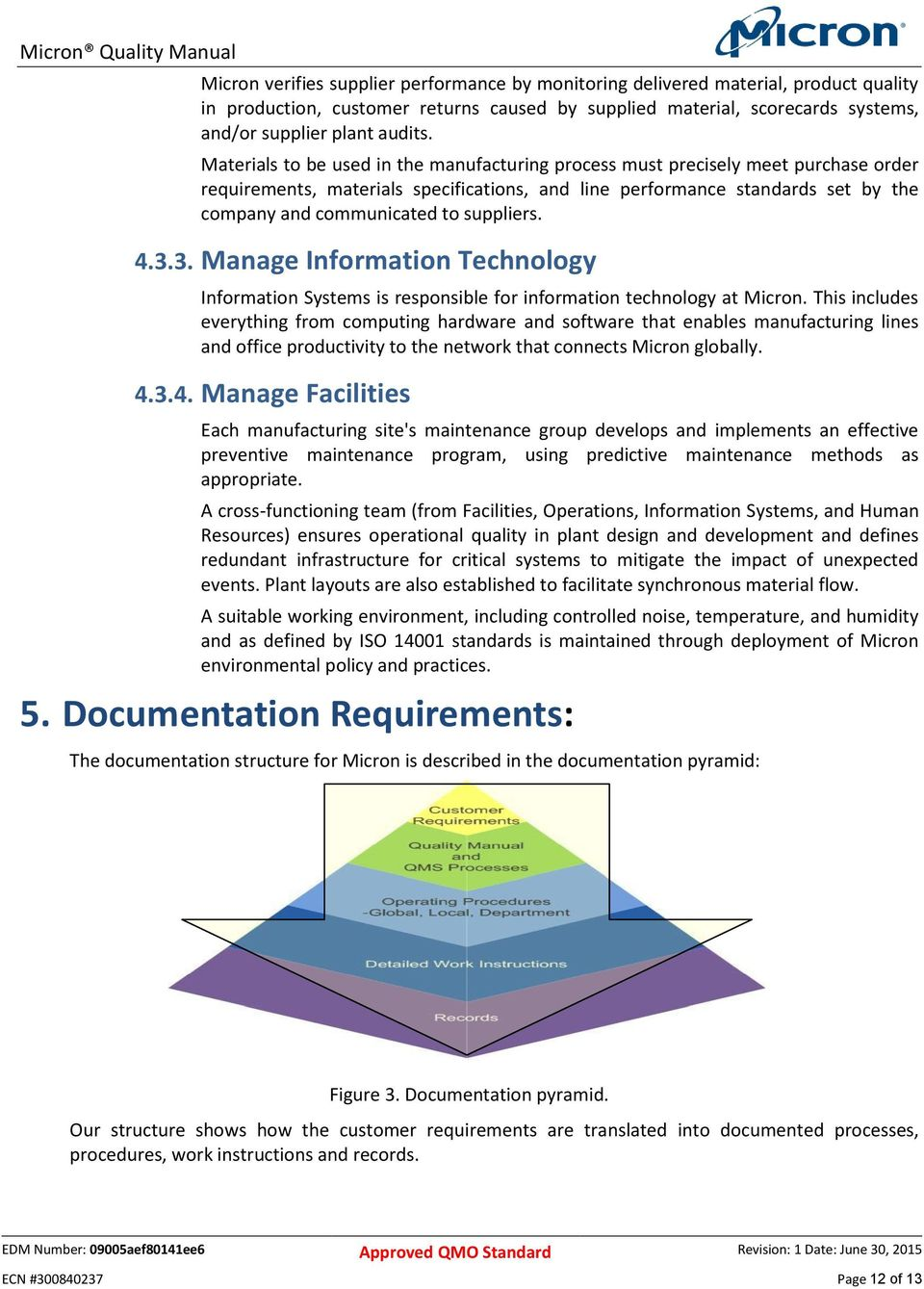 suppliers. 4.3.3. Manage Information Technology Information Systems is responsible for information technology at Micron.