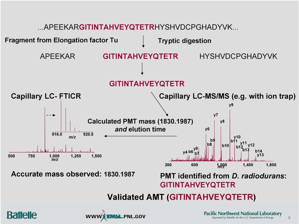 GITINTAHVEYQTETR Capillary LC-MS/MS (e.g. with ion trap) y9 916.0 920.