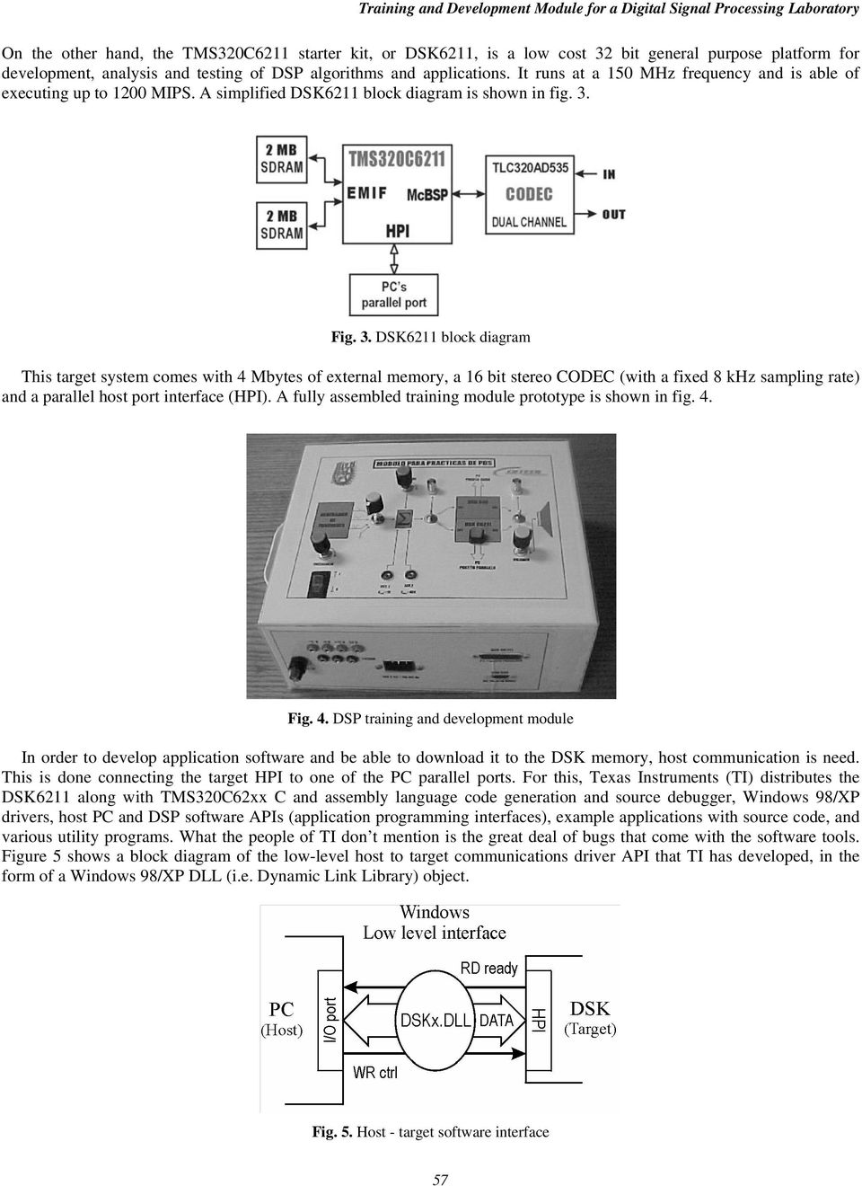 Fig. 3. DSK6211 block diagram This target system comes with 4 Mbytes of external memory, a 16 bit stereo CODEC (with a fixed 8 khz sampling rate) and a parallel host port interface (HPI).