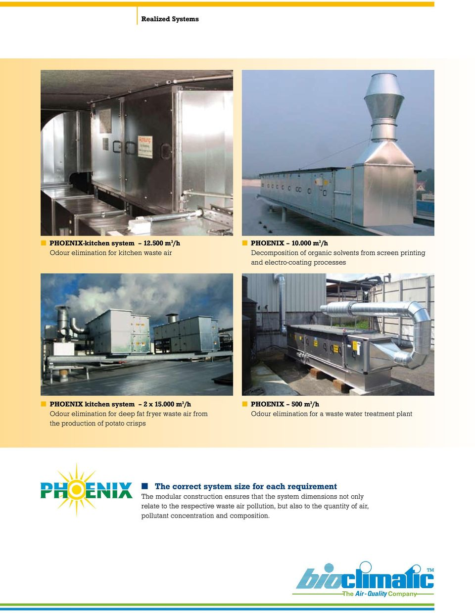 000 m 3 /h Odour elimination for deep fat fryer waste air from the production of potato crisps PHOENIX 500 m 3 /h Odour elimination for a waste water