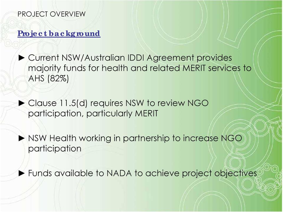 5(d) requires NSW to review NGO participation, particularly MERIT NSW Health working