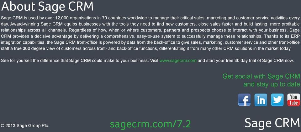 Regardless of how, when or where customers, partners and prospects choose to interact with your business, Sage CRM provides a decisive advantage by delivering a comprehensive, easy-to-use system to