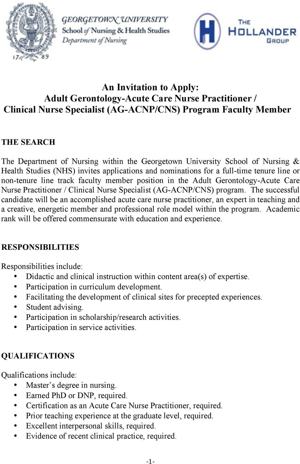 Care Nurse Practitioner / Clinical Nurse Specialist (AG-ACNP/CNS) program.