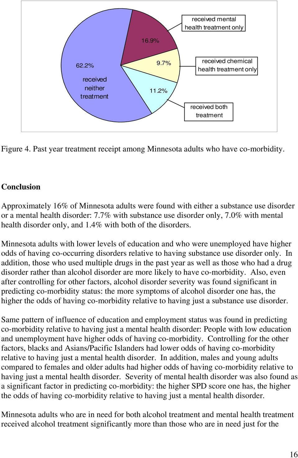 Conclusion Approximately 16% of Minnesota adults were found with either a substance use disorder or a mental health disorder: 7.7% with substance use disorder only, 7.