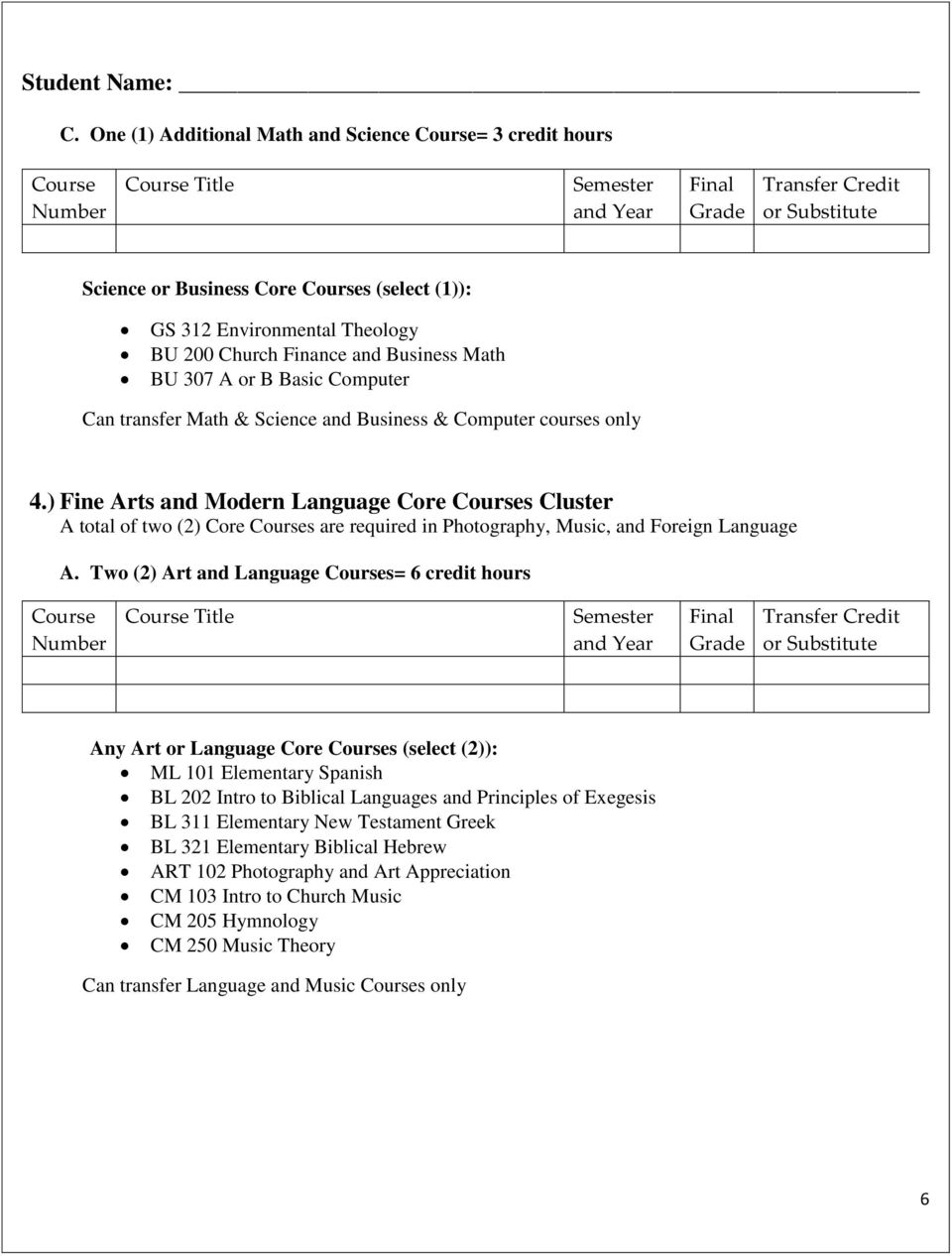 Can transfer Math & Science and Business & Computer courses only 4.) Fine Arts and Modern Language Core s Cluster A total of two (2) Core s are required in Photography, Music, and Foreign Language A.