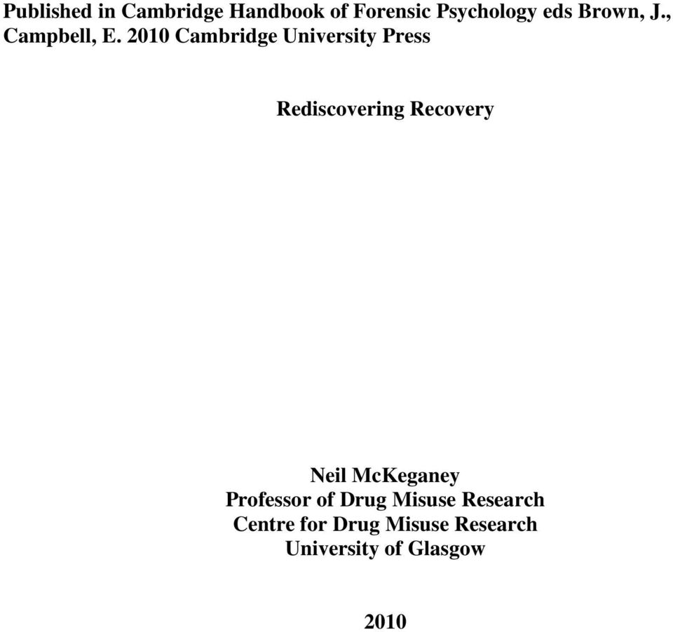 2010 Cambridge University Press Rediscovering Recovery Neil