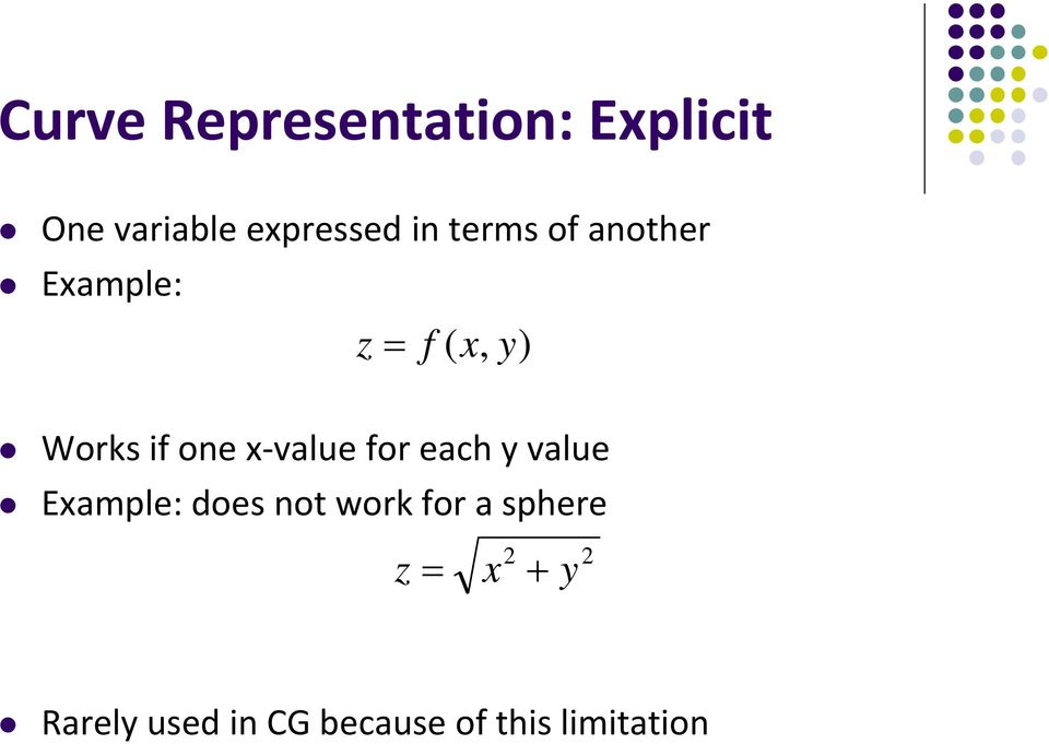 x value for each y value Example: does not work for a