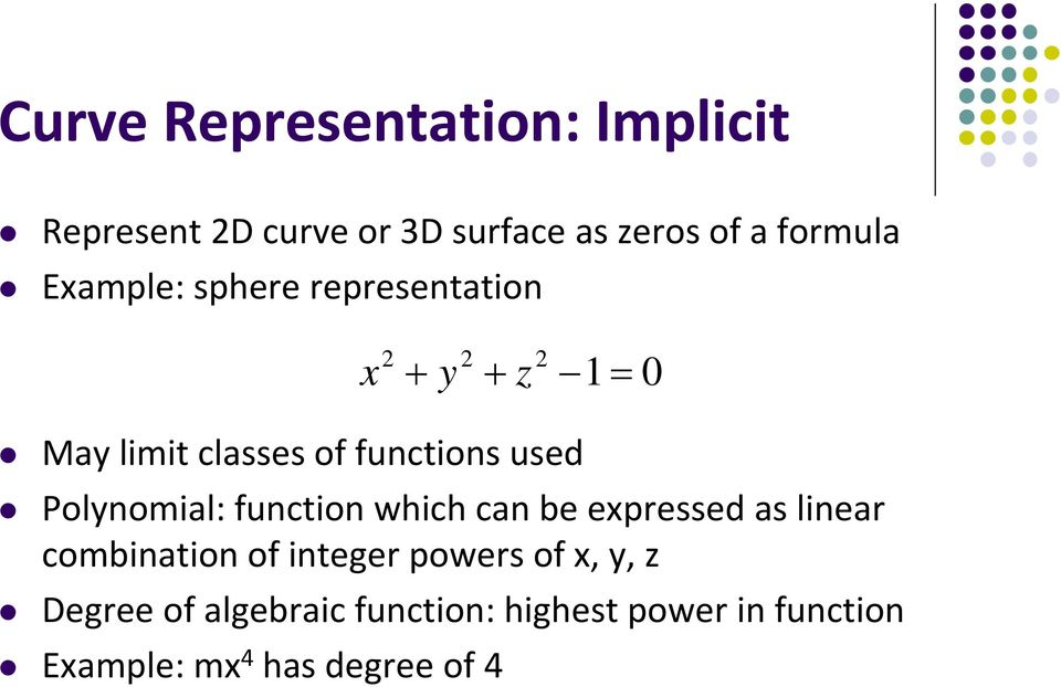 Polynomial: function which can be expressed as linear combination of integer powers