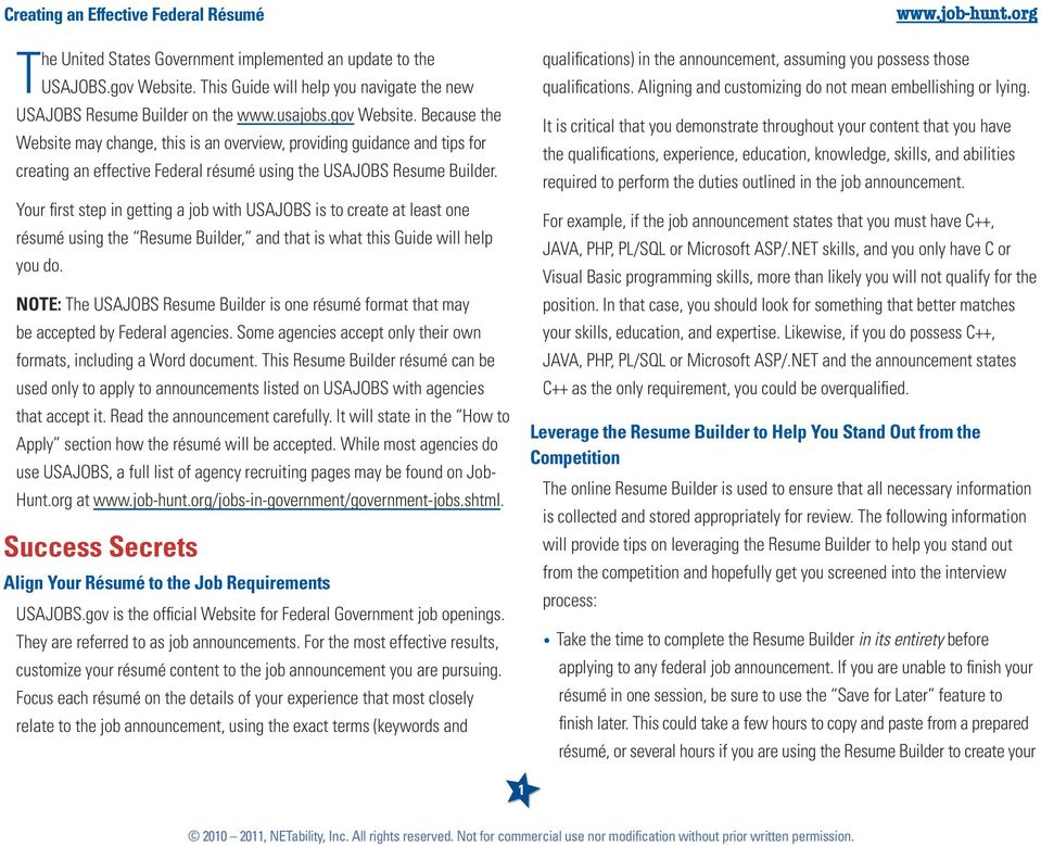 Quick Guide Create An Effective Federal Resume With The Usajobs Gov