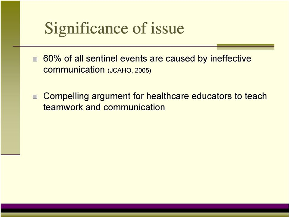 communication (JCAHO, 2005) Compelling