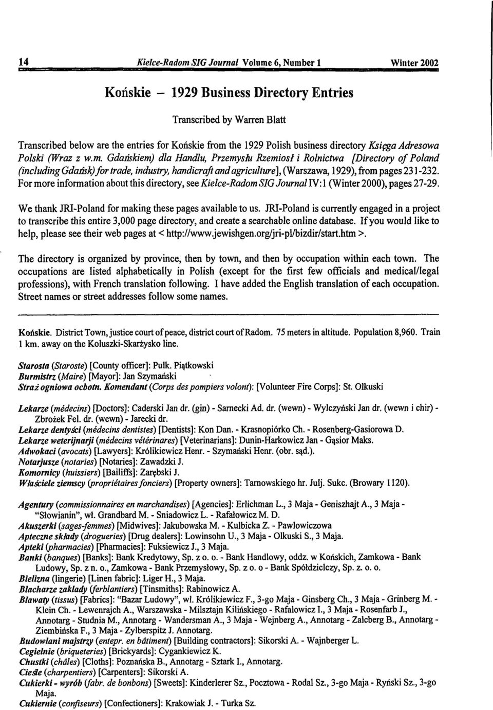Gdaiiskiem) dla Handlu, Przemysht Rzemiosi i Rolnictwa [Directory of Poland (including Gdansk) for trade, industry, handicraft and agriculture], (Warszawa, 29), from pages 1-2.