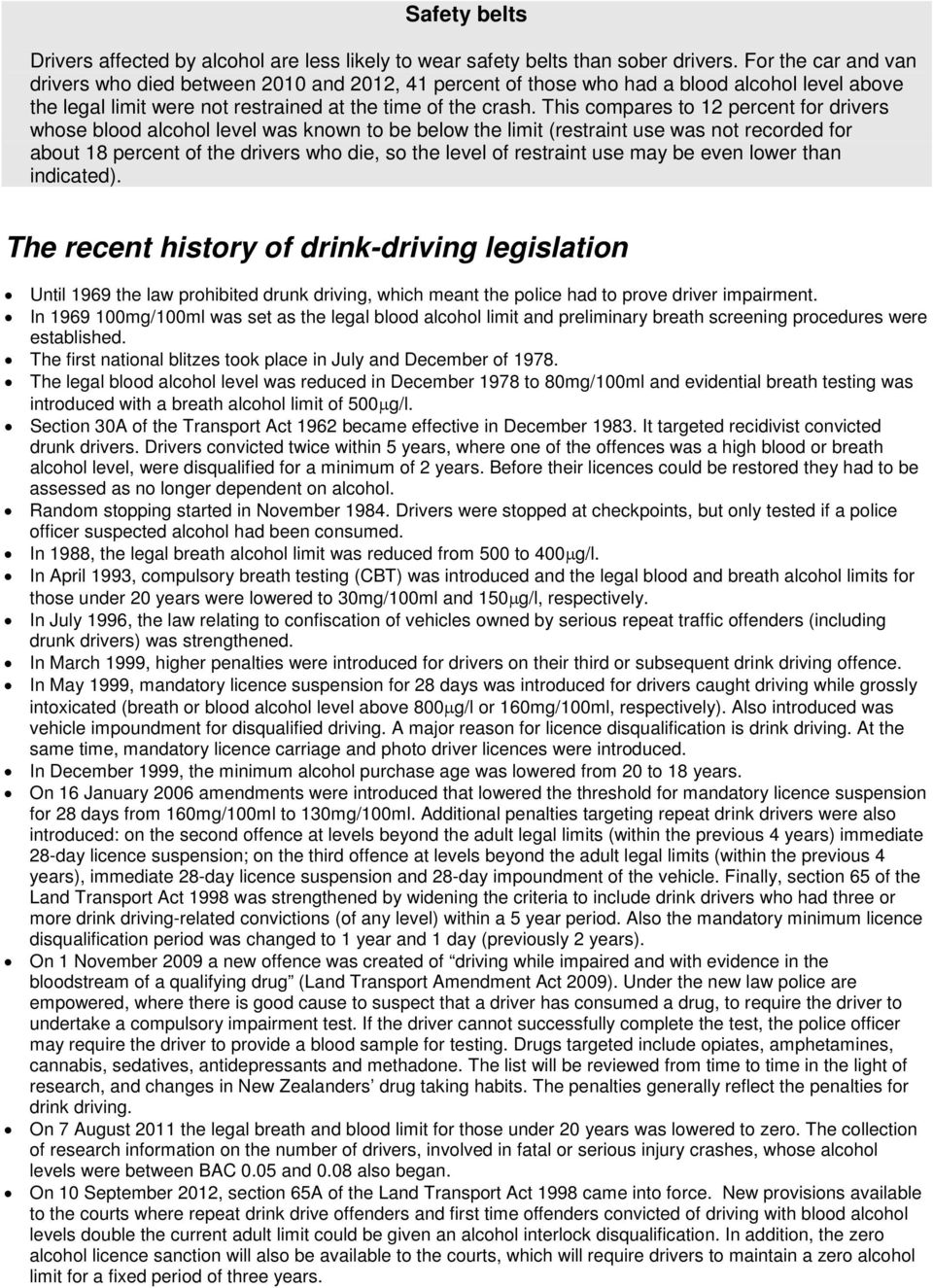 This compares to 12 percent for drivers whose blood alcohol level was known to be below the limit (restraint use was not recorded for about 18 percent of the drivers who die, so the level of