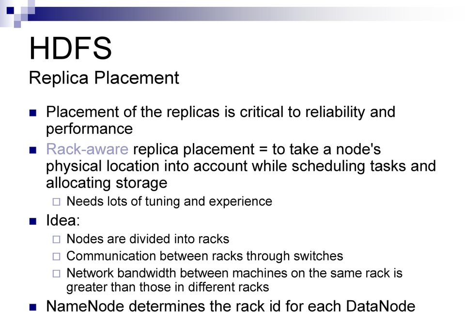 of tuning and experience Idea: Nodes are divided into racks Communication between racks through switches Network