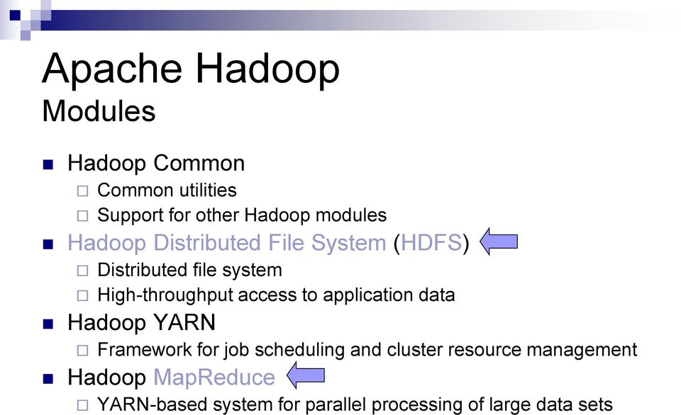 to application data Hadoop YARN Framework for job scheduling and cluster resource