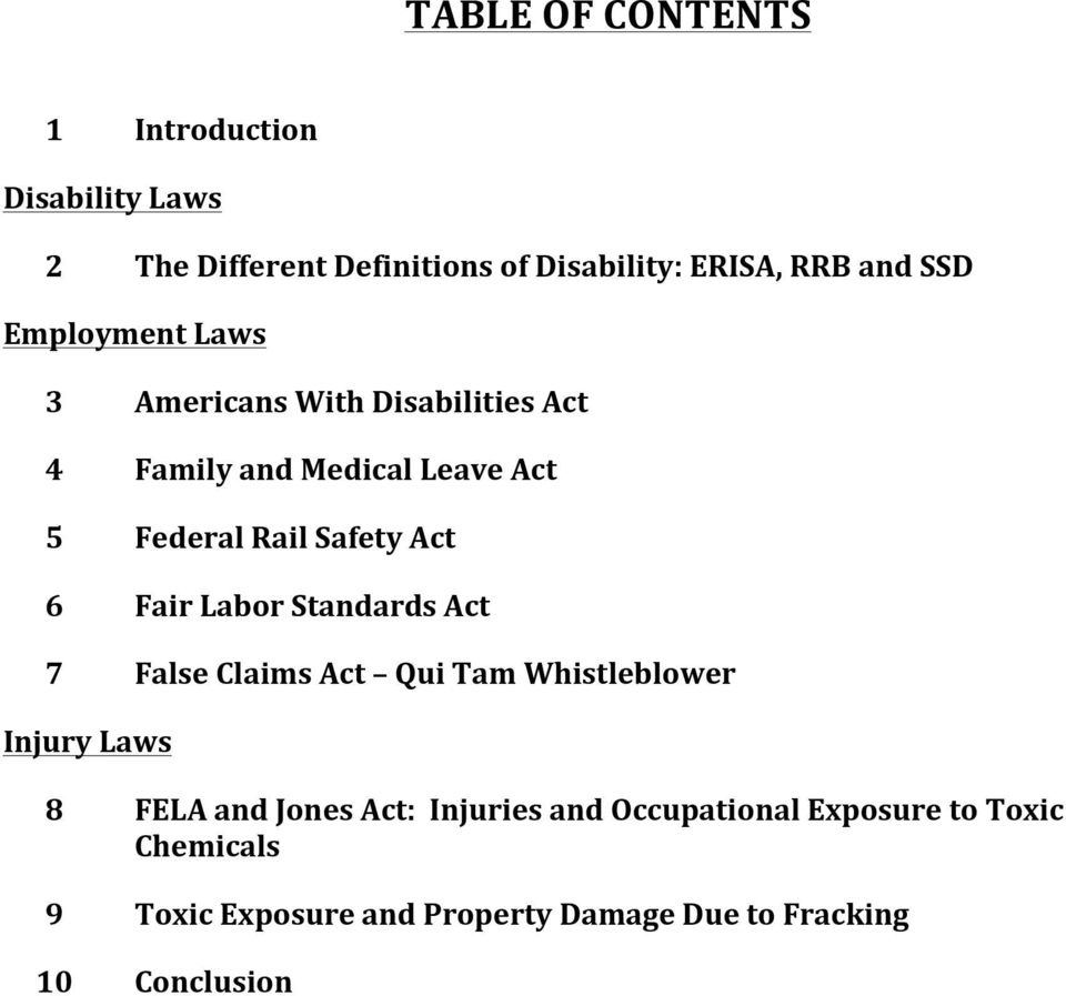 Act 6 Fair Labor Standards Act 7 False Claims Act Qui Tam Whistleblower Injury Laws 8 FELA and Jones Act: