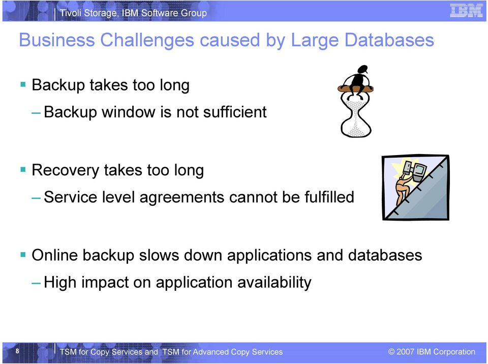 cannot be fulfilled Online backup slows down applications and databases High