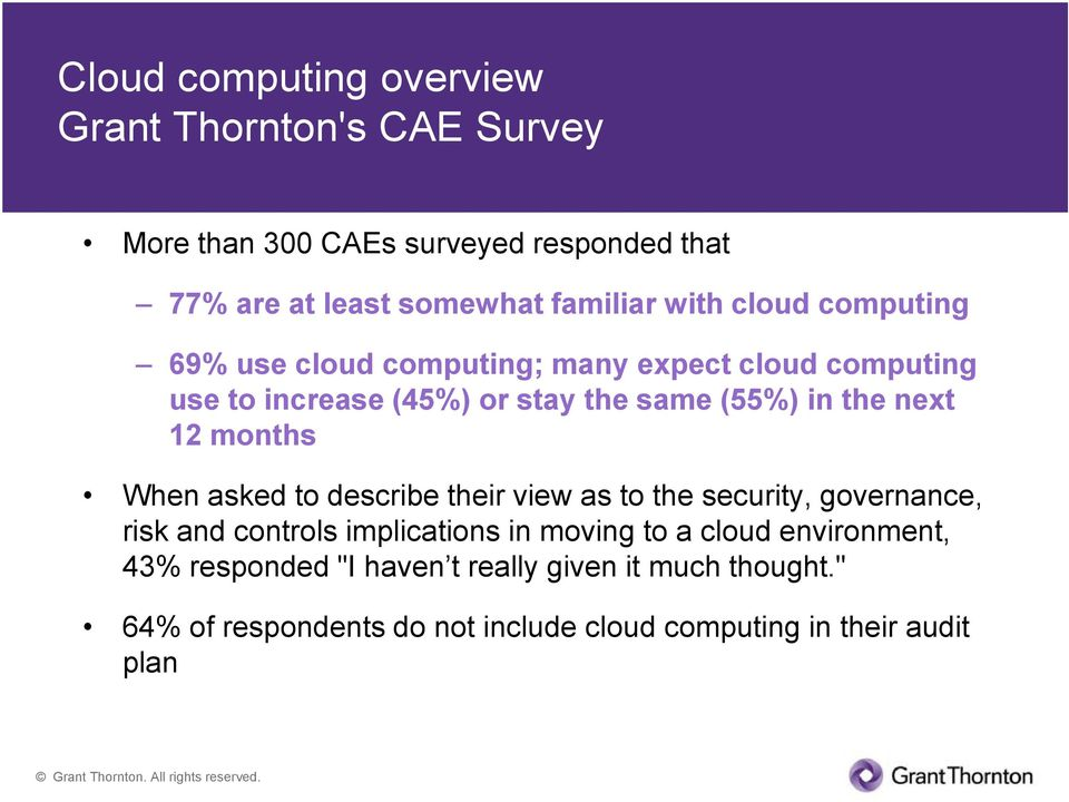 12 months When asked to describe their view as to the security, governance, risk and controls implications in moving to a cloud