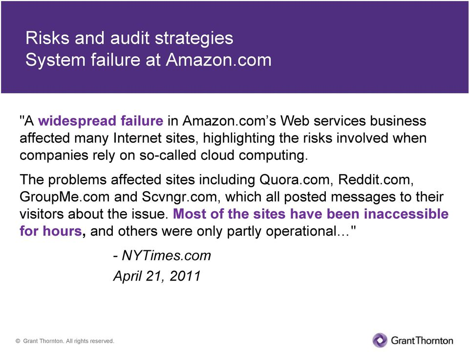 cloud computing. The problems affected sites including Quora.com, Reddit.com, GroupMe.com and Scvngr.