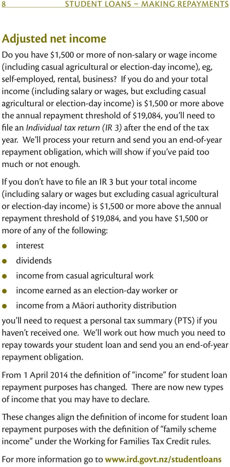 If you do and your total income (including salary or wages, but excluding casual agricultural or election-day income) is $1,500 or more above the annual repayment threshold of $19,084, you ll need to