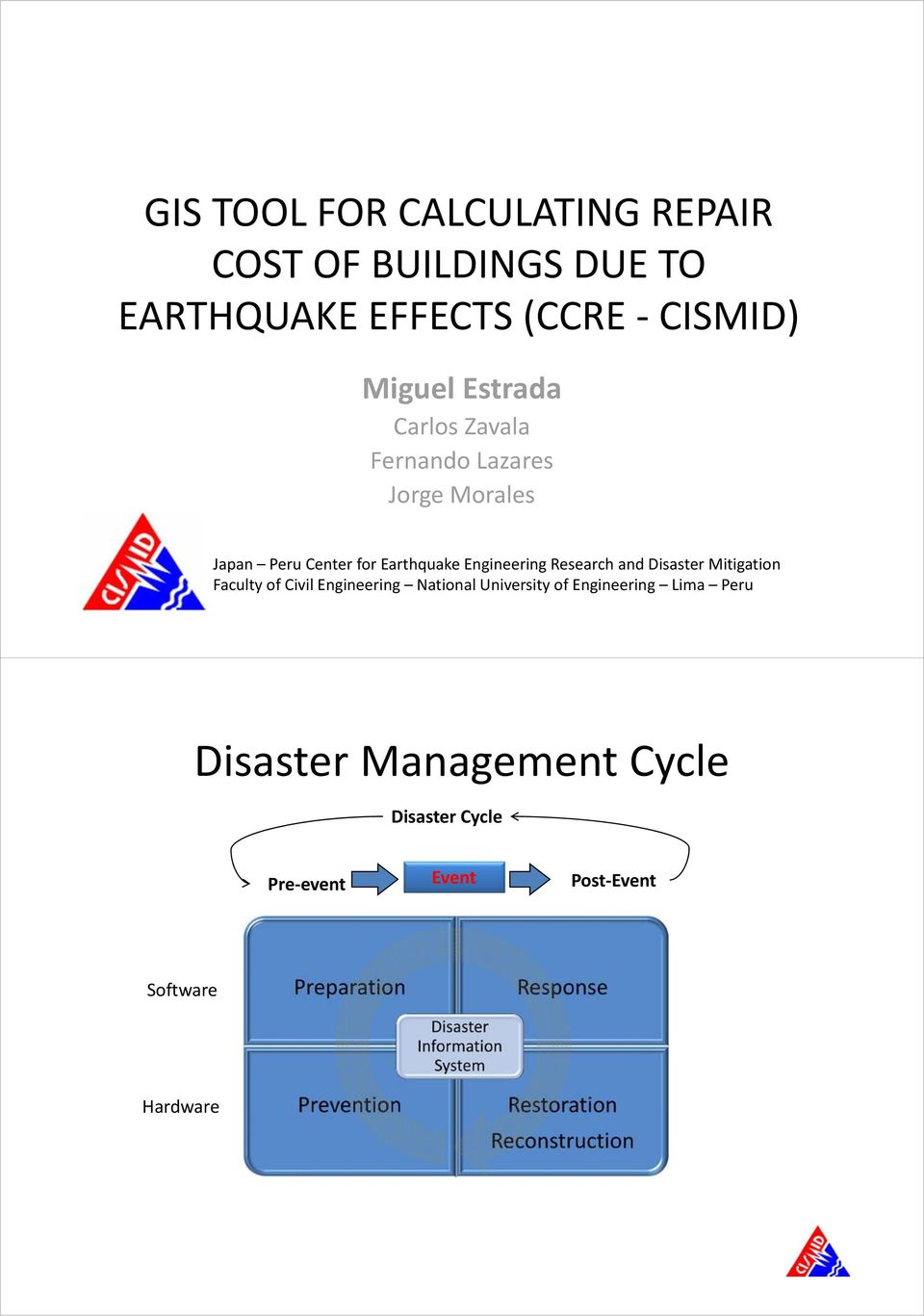 Engineering Research and Disaster Mitigation Faculty of Civil Engineering National University of
