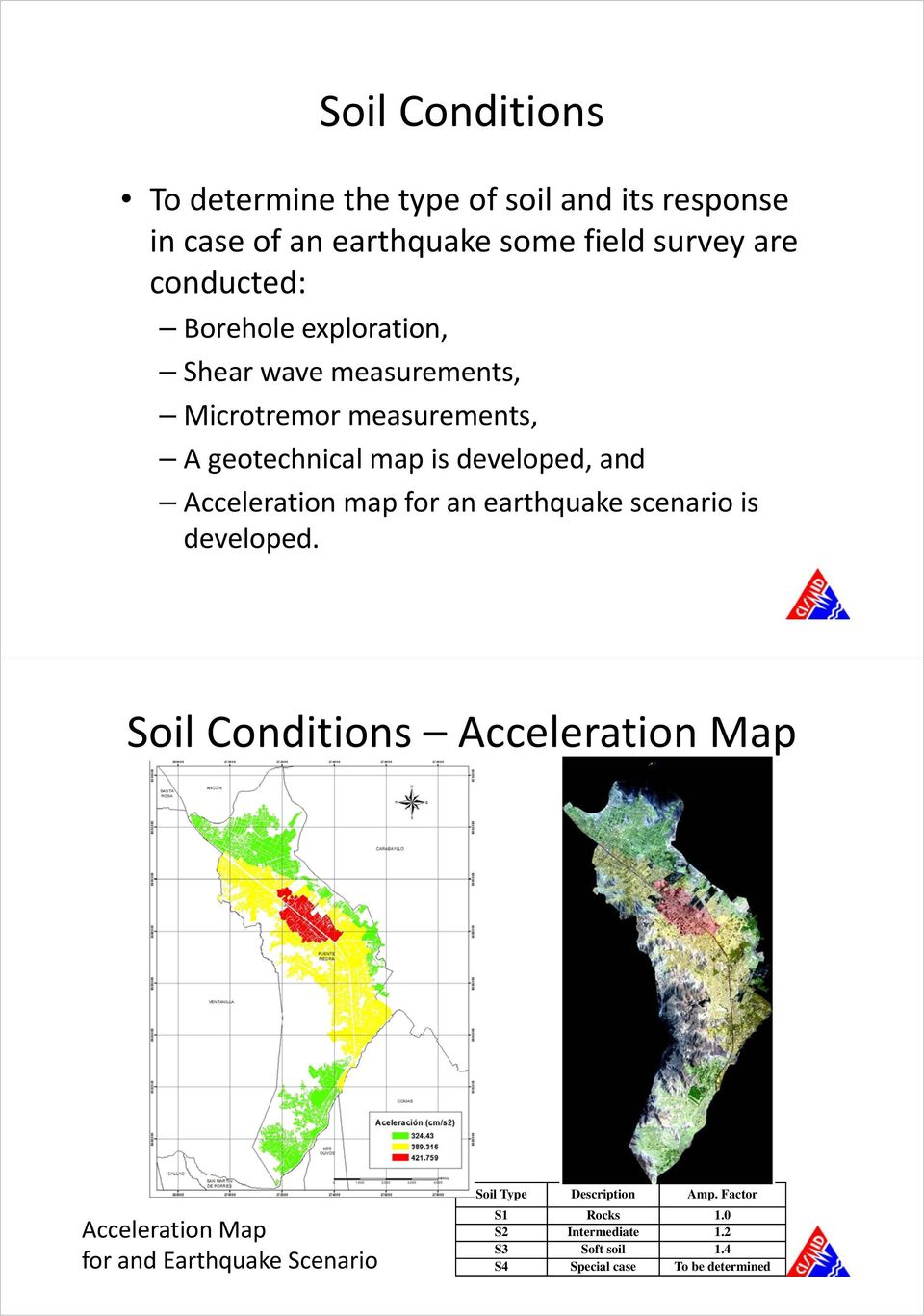 Acceleration map for an earthquake scenario is developed.