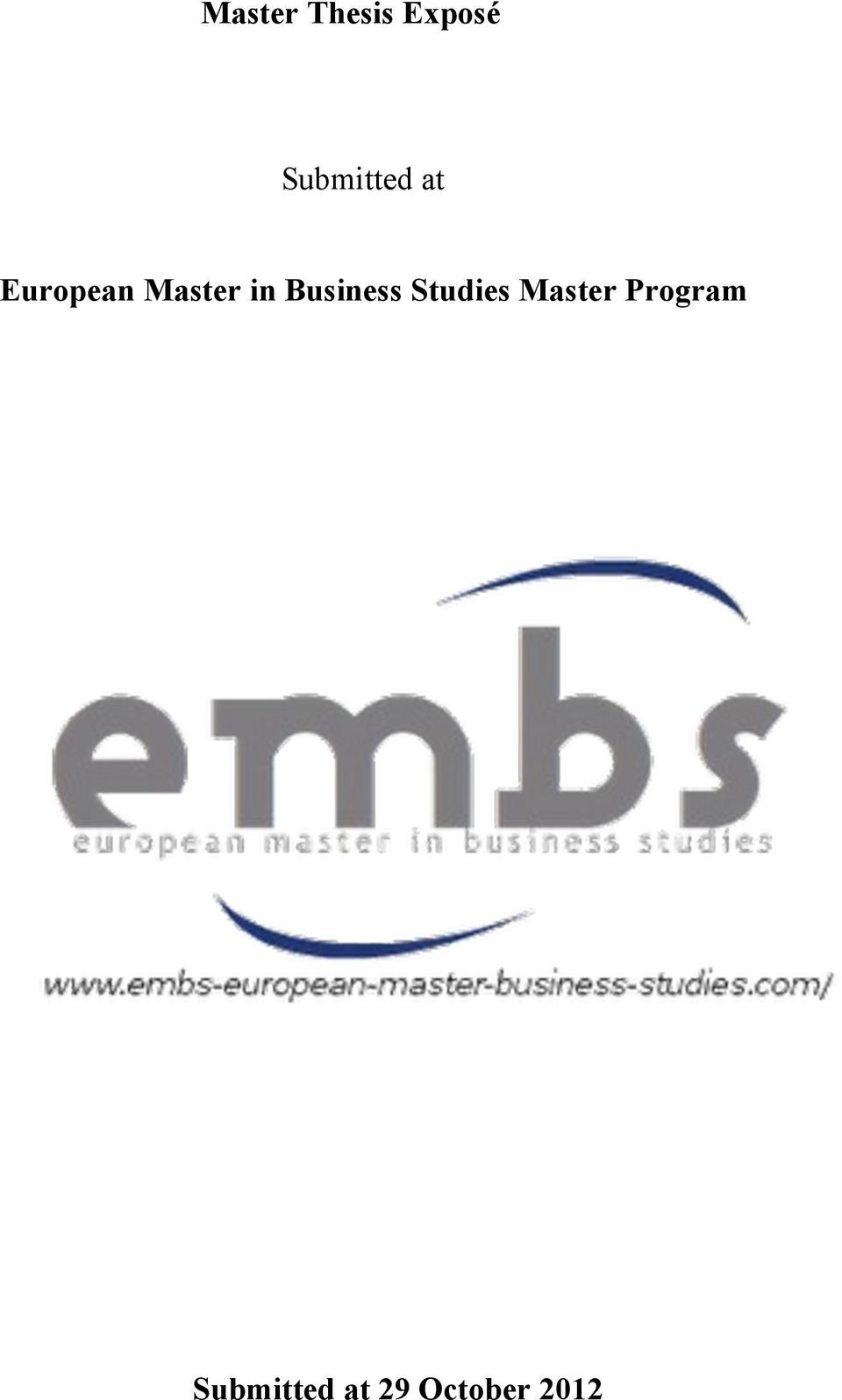 in Business Studies Master
