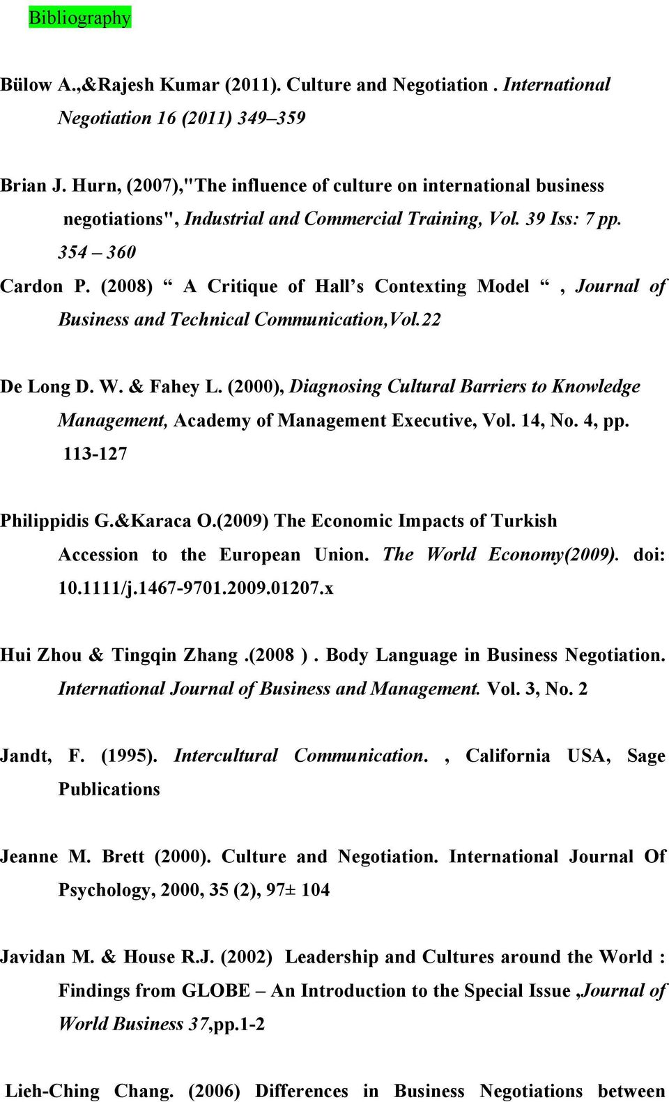 (2008) A Critique of Hall s Contexting Model, Journal of Business and Technical Communication,Vol.22 De Long D. W. & Fahey L.