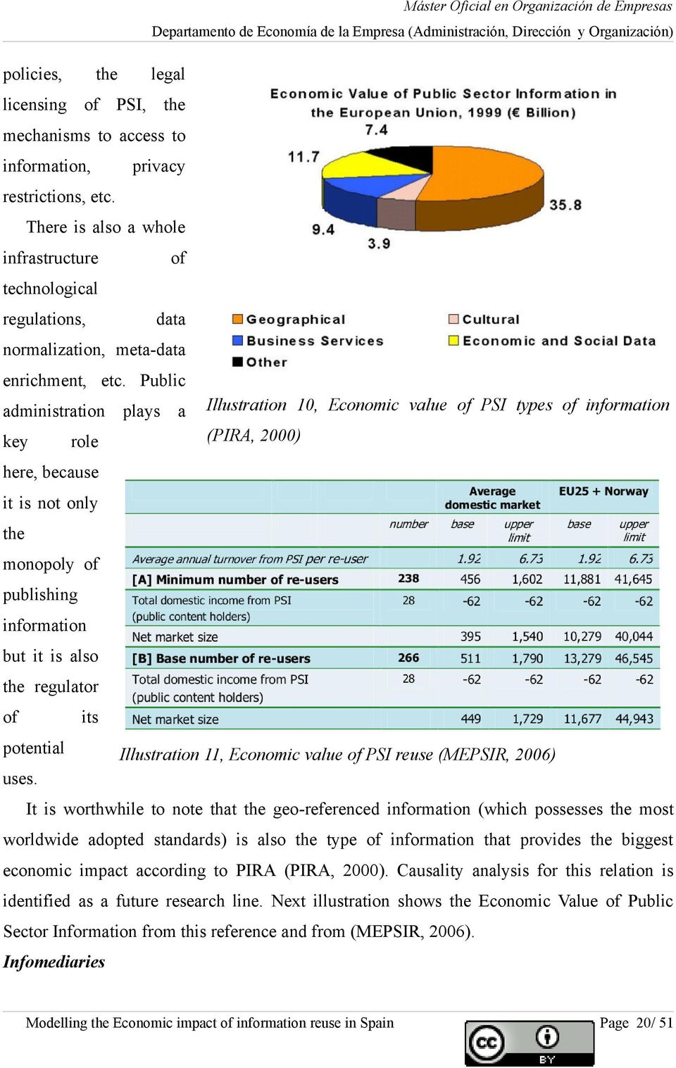 Public administration plays a Illustration 10, Economic value of PSI types of information key role (PIRA, 2000) here, because it is not only the monopoly of publishing information but it is also the
