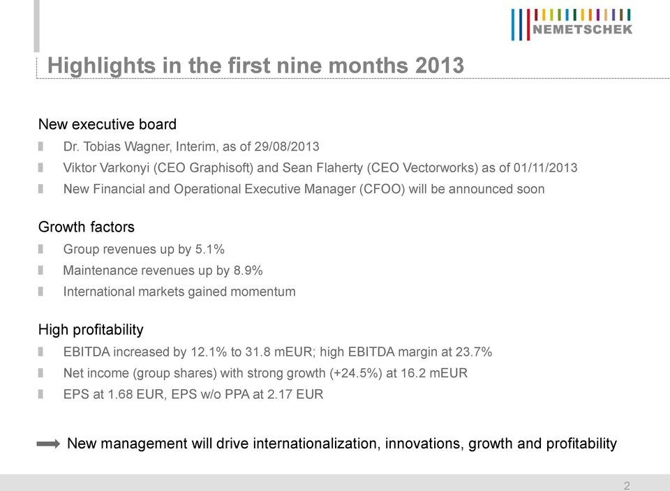 Executive Manager (CFOO) will be announced soon Growth factors Group revenues up by 5.1% Maintenance revenues up by 8.